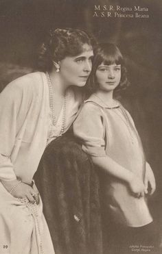 Queen Marie and Princess Ileana of Romania. Queen Victoria was the grandmother of most of European royals. Queen Mary, King Queen, Romanian Royal Family, Queen Victoria Family, Cultura General, Little Paris, European History, Asian History, Tudor History