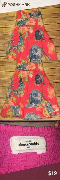 Abercrombie girls sundress Pink blue and green floral spaghetti strap dress. Straps are adjustable abercrombie kids Dresses Casual