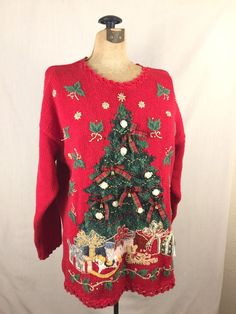 80af4cb5001e53 Ugly Christmas Sweater Red With Xmas Tree and Presents Embellished Size L  Tiara | Clothing,