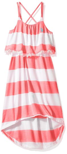 U.S. Polo Assn. Big Girls' Hi-Lo Striped Flounce Maxi Dress, Neon Pink, 12. Spaghetti straps are adjustable. Lace trimmed flounce top. Gathered at waistline. Hi-lo hem. Iconic logo.