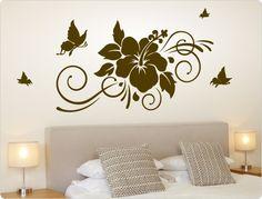 Wandtattoo Hibiskus Creative Wall Painting, Wall Painting Decor, 3d Wall Decor, Mural Wall Art, Nursery Wall Decals, Creative Walls, Vinyl Wall Decals, Room Decor, Wall Sticker