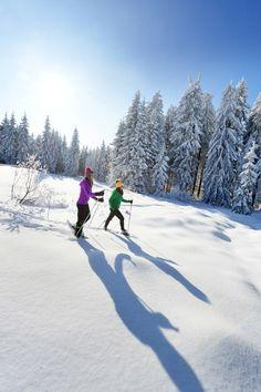 Beim #Schneeschuhwandern die verschneite #Winterlandschaft im #Mühlviertel entdecken. Alle Infos und #Urlaubsangebote im #Granithochland unter www.muehlviertel.at/winteraktivitaeten ©OÖ. Tourismus/Röbl Mountains, Nature, Travel, Snow Boots, Ice Skating, Ski Resorts, Ski Trips, Winter Vacations, Winter Scenery
