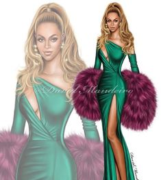 Beyoncé wearing Walter Collection at charity concert in by David Mandeiro Illustrations Dress Design Sketches, Fashion Design Drawings, Fashion Sketches, Fashion Drawing Dresses, Fashion Illustration Dresses, Fashion Dresses, Fashion Illustrations, Moda Fashion, Fashion Art