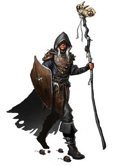 m Drow Elf Cleric staff shield cape traveller