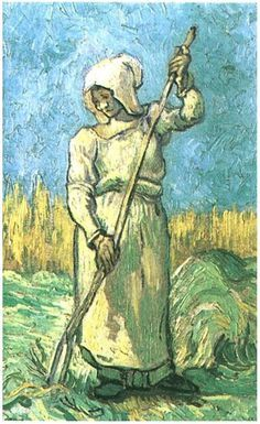 Vincent van Gogh - Peasant Woman with a Rake (after Millet), Saint-Rémy: September, 1889, Oil on Canvas,  Private Collection Van Gogh Gallery