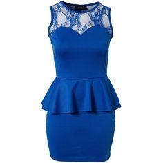 Club L Candy Lace Peplum Dress (1,965 INR) ❤ liked on Polyvore featuring dresses, vestidos, short dresses, robe, party dresses, cobalt blue, mini dress, blue lace dress, lace mini dress and lacy dress