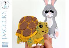 Felt Tortoise and the Hare Finger Puppet Mini-Set of Sewing Patterns.  INSTANT DOWNLOAD.  PDF #fingerpuppet #puppet #DIYgifts