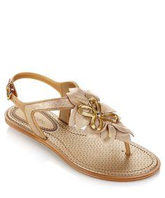50b6b63f1 Grendha Jasmine beige leaf-detail sandals