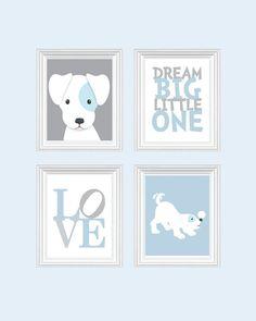 Dog Nursery Art - Baby Boy Nursery Art Puppy Nursery Prints, Blue Baby Nursery Decor Playroom Rules Quote Art,  Kids Wall Art Baby Boys Room...