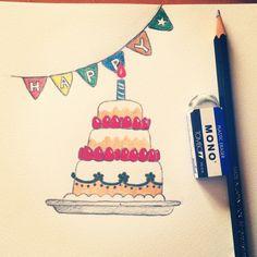 絵に描いたハッピーケーキ。