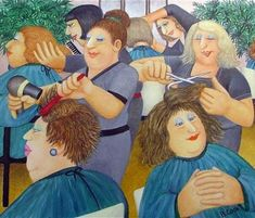 """""""Hairdressing"""" was one of the last pictures Beryl Cook painted before her untimely death in It is a wonderful example of her acute observation and circular rhythmic composition. Naive, Beryl Cook, Plus Size Art, English Artists, British Artists, Salon Art, Fat Art, Limited Edition Prints, Girls Shopping"""