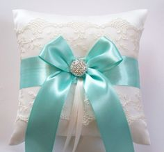 Wedding Ring Pillow Tiffany Blue Ribbon Pillow with by JLWeddings, $42.50
