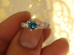 Use Shop Code for 15% off Stunning Vintage .88ct Blue Diamond Engagement Wedding Solitaire Ring 14kt White Gold Bridal Jewelry