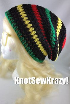Crochet slouch beanie rasta black red green yellow bob marley