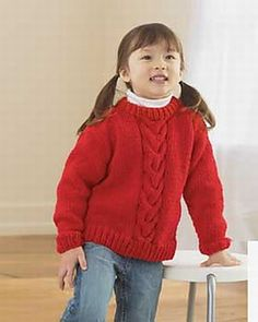 Any little girl would love such a wonderful sweater like this one. The free knitting patterns offered like this one have a fabulous texture to it. Cables and ribbing add nice detail. Free Chunky Knitting Patterns, Jumper Knitting Pattern, Knitting For Kids, Free Knitting, Knitting Daily, Knit Patterns, Knitting Projects, Crochet Projects, Craft Projects