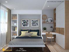 Căn hộ Horizon được thiết kế cải nội thất căn hộ theo phong cách hiện đại, tối đa không gian sinh hoạt nhờ sử lụng linh hoạt đồ dùng nội thất thông minh. Màu trắng chủ đạo làm sáng cả không gian chung. Small Apartment Interior, Bedroom Apartment, Home Decor Bedroom, Bedroom Design Inspiration, Appartement Design, Japanese Home Decor, Ideas Hogar, Master Bedroom Design, Suites