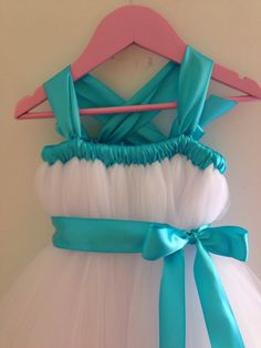 White tutu flower girl dress with turquoise accents nb-12 girls by HadandHarps on Etsy https://www.etsy.com/listing/193320732/white-tutu-flower-girl-dress-with