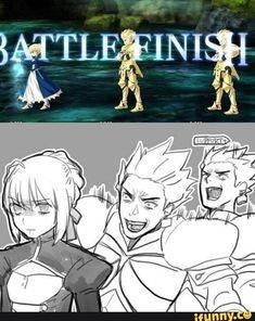 Behold the sole purpose I want to summon Arturia Fanart, Gilgamesh Fate, Minions, Fate Stay Night Anime, Fate Anime Series, Fate Zero, Type Moon, Manga Comics, Funny Games