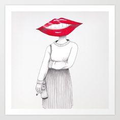 Lip Head Art Print - Available on Art Prints, Wall Art, Illustration, Art Impressions, Illustrations, Wall Decor