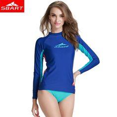 SBART Long Sleeve Rash Guard for Women Surf Top UV Sun Protection Lycra Wetsuit Rashguard Swim Shirt Quick-dry Women Swimwear