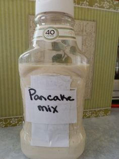 Such a smart idea!  Make ahead, put in the bottle, and place in cooler for easy pancakes!!!