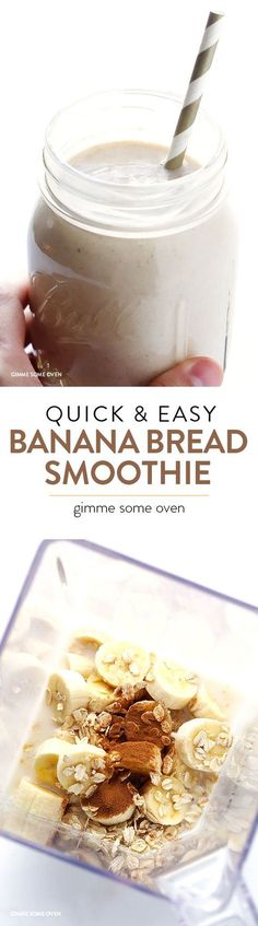 Creativos y Geniales Cambur Bread Smoothie --quick and easy, full of protein, and it tastes like the . Cambur Bread Smoothie --quick and easy, . Yummy Smoothies, Smoothie Drinks, Breakfast Smoothies, Yummy Drinks, Healthy Drinks, Breakfast Recipes, Yummy Food, Breakfast Healthy, Protein Smoothies
