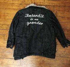 cb02c10289b Magnifique blouson de la marque française Interdit de Me Gronder Matière  jeans used noir gris