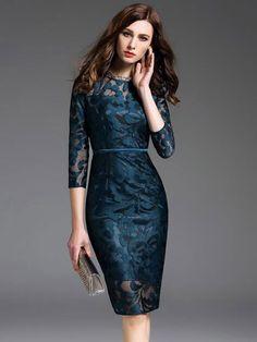 Women's Wrap Dress Lace Jewel Neck Bodycon Dress Fall Collection, Dress Collection, Lace Midi Dress, Wrap Dress, Robe Bodycon, Chic Outfits, Fashion Outfits, Bodycon Outfits, Mode Ootd