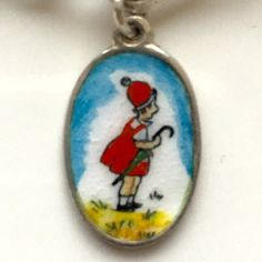 Rare Vintage Silver & Enamel Oval Girl in Red Dress by eCharmony