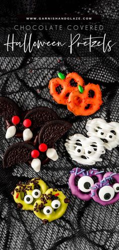 Chocolate Covered Halloween Pretzels are such a fun treat to make! Make them as cute or creepy as you'd like! This sweet and salty treat is perfect for a party or giving to friends! #halloweentreats #halloweenparty #halloweenrecipe   GarnishandGlaze.com