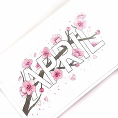 Bullet journal monthly cover page, April cover page, cherry blossoms drawing. | @tashletters