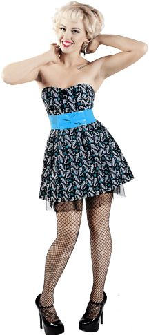 """ADORABLE DRESS!  Love the """"tutu"""" part sticking out underneath.   Great nautical retro outfit!  - - - - Stroll the beach in this darling little number. This strapless black cotton stretch dress has an all over teal & white seahorse, starfish & bubbles print, removable teal stretch belt & tulle underlay.  SOURPUSS BRAND Teal / Black Seahorse Strapless Dress - Large Dresses - $24.99 - 1-DRL-77481 - Other Sizes Available."""