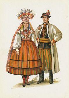 Traditional flower crowns from Poland. Region of Łowicz. Postcard with illustration by Maria Orłowska-Gabryś (1925-1988).