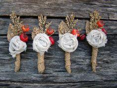 fall burlap boutonniere | Burlap Rustic Wedding Boutonniere Groom Groomsmen Fall Fabric Flower