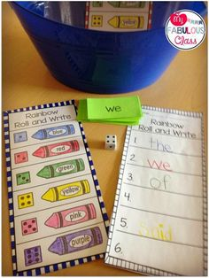 Morning Work Buckets and Write Sight Words. Kindergarten Morning Work, Kindergarten Language Arts, Kindergarten Centers, Kindergarten Literacy, Preschool, Sight Word Centers, Word Work Centers, Sight Word Games, Reading Centers