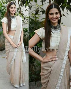 Sonam Kapoor in Anavika handwoven saree for her movie Prem Ratan Dhan Paayo Conference