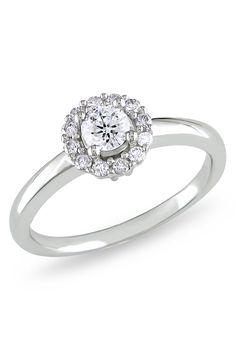 1/2 ct Round Diamond Engagement Ring in 14k White Gold