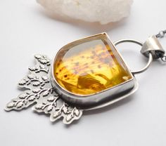 Silver Amber Necklace Handmade by EONDesignJewelry