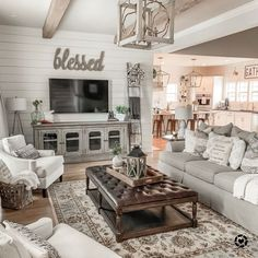 Modern farmhouse living room Buy this picture by liketoknowit a . - Modern farmhouse living room Buy this picture by liketoknowit a … - Living Room Shop, Home Living Room, Living Room Furniture, Tv Wall Ideas Living Room, Rustic Furniture, Antique Furniture, Living Room Decor With White Walls, Tv Stand Living Room, Living Room Ideas Open Floor Plan