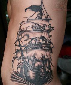 Pirate ship tattoos   pin pirate ship rib tattoo design on pinterest