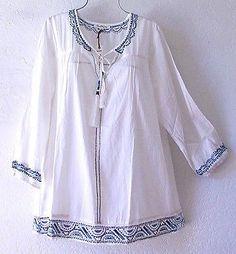 Nuevo ~ SOLITAIRE ~ Aqua Blanco y Azul Marino Camisa Blusa campesina Boho Top ~ 18/20/1X Plus