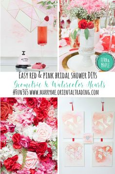 Romantic Red & Pink Watercolor Heart Themed Bridal Shower #fun365 #partyideas #bridalshower #fernandmaple #parties