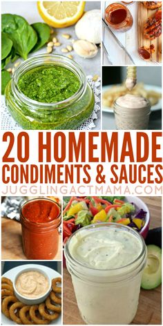 Homemade Sauces & Condiments We've got more than 20 Homemade Condiments and Sauces perfect for making this summer - they make great gifts, too! Summer just wouldn't be summer without barbecues, fresh veggies and all the yummy sauces and Homemade Spices, Homemade Seasonings, Chutney, Cuisines Diy, Sauce Barbecue, Marinade Sauce, Keto, Seasoning Mixes, Dressing Recipe
