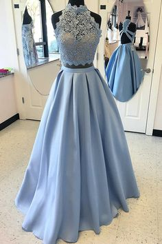 Two Piece High Neck Blue Satin Floor-length Criss-cross Straps Appliques Prom Dress