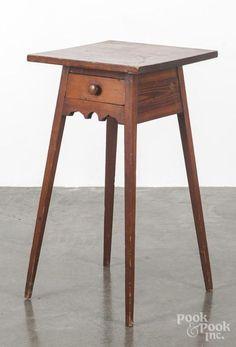 Description: Pine Splay Leg One Drawer Stand, 19th C., 28 1/