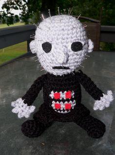Pinhead Cenobite from Hellraiser crochet doll by Macabrochet