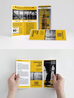 yellow trifold brochure template indesign indd a4 us letter download