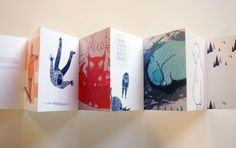 BOBBY The postcards are stuck together to form a concertina.  This packaging method is visual engaging, as well as interesting and innovative.  However, the postcards might be damaged when trying to separate them, which is one of the limitations of the design.  Apart from the fact that it is fragile, the design is minimalist, which is clean and simple as reflected in the graphics and illustrations of the postcards.