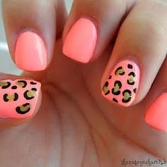 Coral & cheetah. You can also create a colorful cheetah print. Put 5 dots on your nails (all different colors) and draw around them with black.