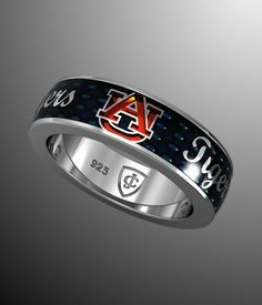 """Auburn Blue """"Tigers"""" Band. This would have been awesome for brads wedding band. Maybe 10yr anniversary??"""